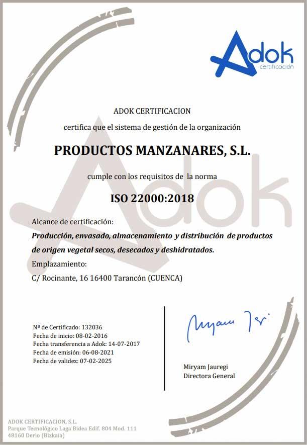 Certificado ISO-22000